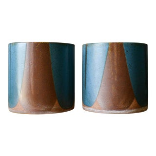 David Cressey for Architectural Pottery Pro/Artisan Blue Flame Glaze Planters For Sale