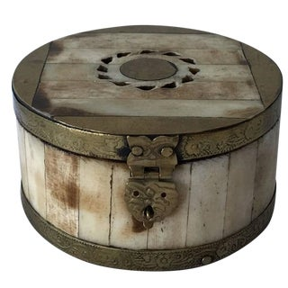 19th Century Bone and Brass Decorative Box For Sale