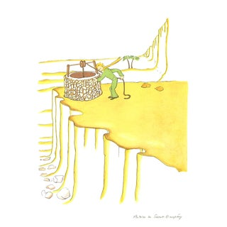 2008 Antoine De Saint Exupery 'Petit Prince Fetching Water (Md)' Modernism White,Green,Brown,Pastel France Lithograph For Sale