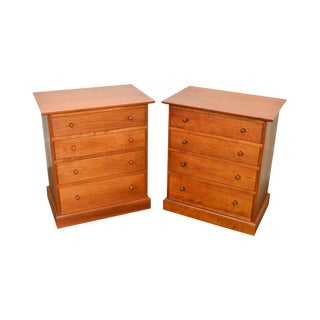 Stickley Solid Cherry Pair of 4 Drawer Chest Nightstands