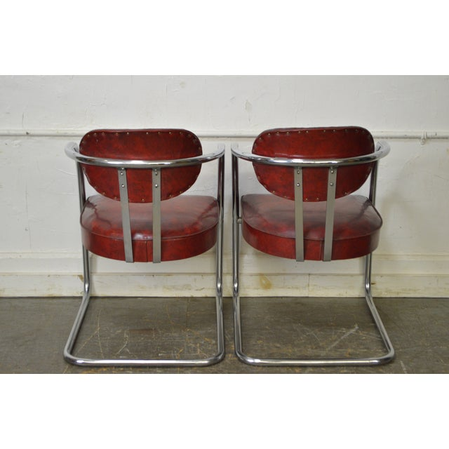 Chrome Craft Art Deco Set of 6 Chrome & Red Vinyl Dining Chairs For Sale - Image 4 of 10