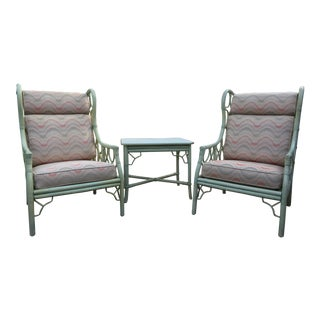1970s Vintage Ficks Reed Rattan Wingback Chairs and Side Table- 3 Pieces For Sale