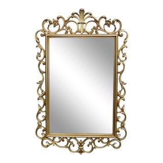 Syroco Rococo French Provincial Gold Scroll Wall Mantle Mirror For Sale