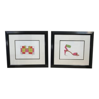 Framed Mod Prints of High Heels and Purse - A Pair For Sale