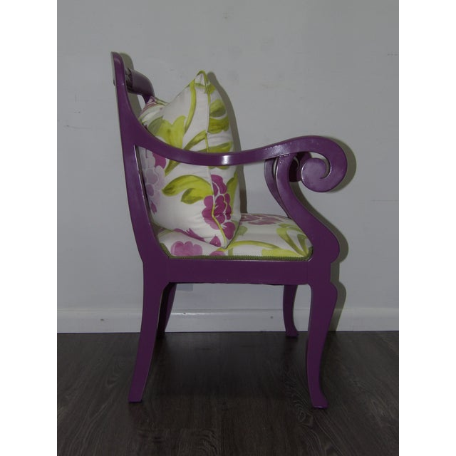 Accent Chair in Purple With Floral Upholstery & Pillow For Sale - Image 4 of 8
