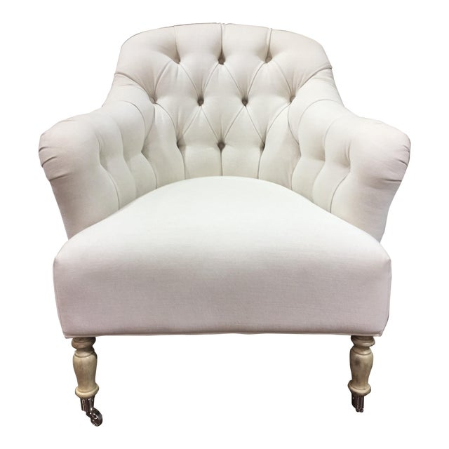 Traditional Clarendon White Tufted Chair For Sale