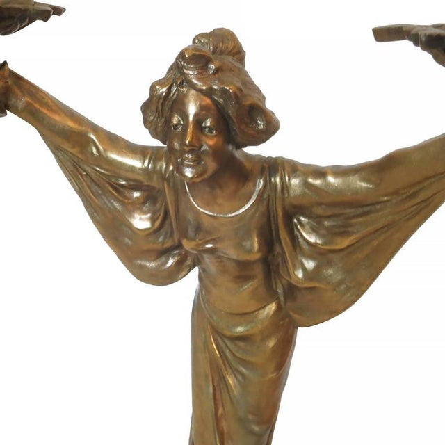 2010s Pair of Bronze Art Nouveau Style Figural Female Candelabra Lamp For Sale - Image 5 of 9