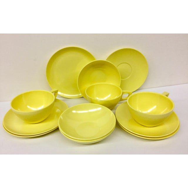 Yellow Sun Valley Mel Mac Service for 3 Tableware - 12 Pc. For Sale - Image 8 of 11