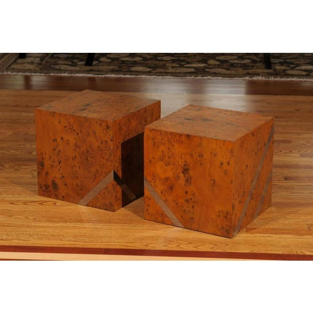 A beautiful pair of vintage cubes. Olivewood veneer over solid hardwood construction with nickel inlay. Finished on all...