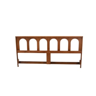 1970s Mid Century Modern Walnut King Size Headboard For Sale