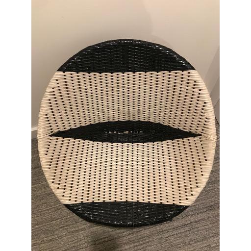 Vintage Mid-Century Atomic B/W Vinyl Basket Chair For Sale - Image 12 of 13