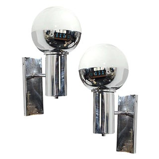 Pair of French Chrome & Glass Globe Sconces For Sale