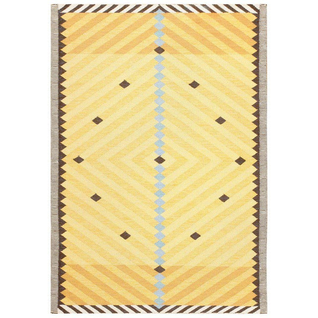 Textile Vintage Scandinavian Yellow and Gold Rug - 5′5″ × 7′9″ For Sale - Image 7 of 7