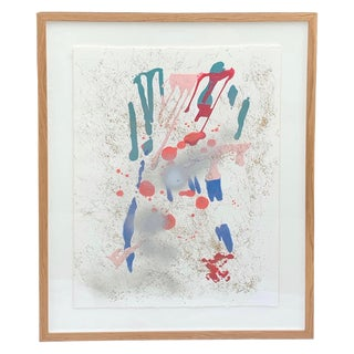 Signed Abstract Torn Edge on Natural Paper Painting For Sale