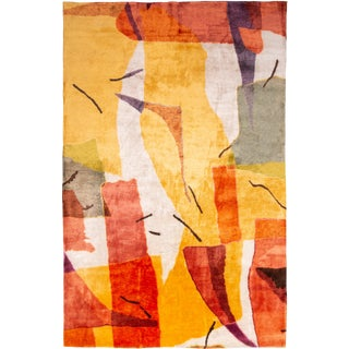 "Contemporary Colorful ""Hag 33"" Hand Knotted Geometric Wool & Silk Rug - 7′ × 10′10″ For Sale"