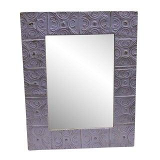 Antique Purple Snowflake Tin Mirror For Sale