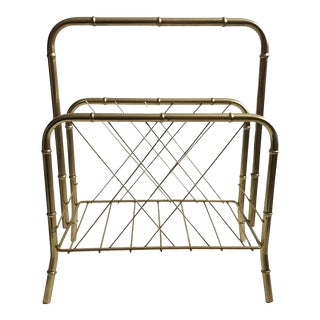 1970s Hollywood Regency Brass Faux Bamboo Standing Magazine Rack For Sale