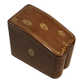 Italian Embossed Leather Card Case Box For Sale