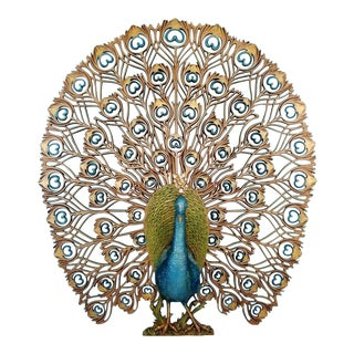 Mid Century Burwood Gold & Blue Jeweled Peacock Wall Hanging For Sale