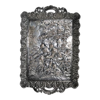 1890s Antique Silver Plated Card Tray For Sale