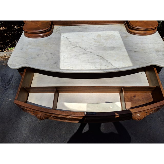 20th Century Renaissance Revival 3-Drawer Marble Top Walnut Dresser & Vanity Mirror For Sale - Image 11 of 13