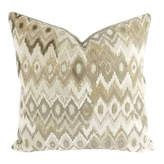 Kravet Couture Platinum Gray Abstract Velvet Pillow Cover For Sale