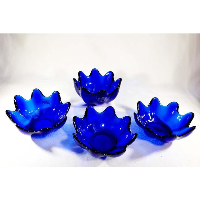 Late 20th Century Blenko Handcraft Cobalt Blue Glass Molded Floriform Bowls - Set of 4 For Sale - Image 5 of 5