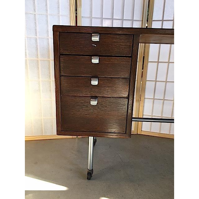 Small Mid-Century Chrome & Wood Kneehole Desk - Image 3 of 5