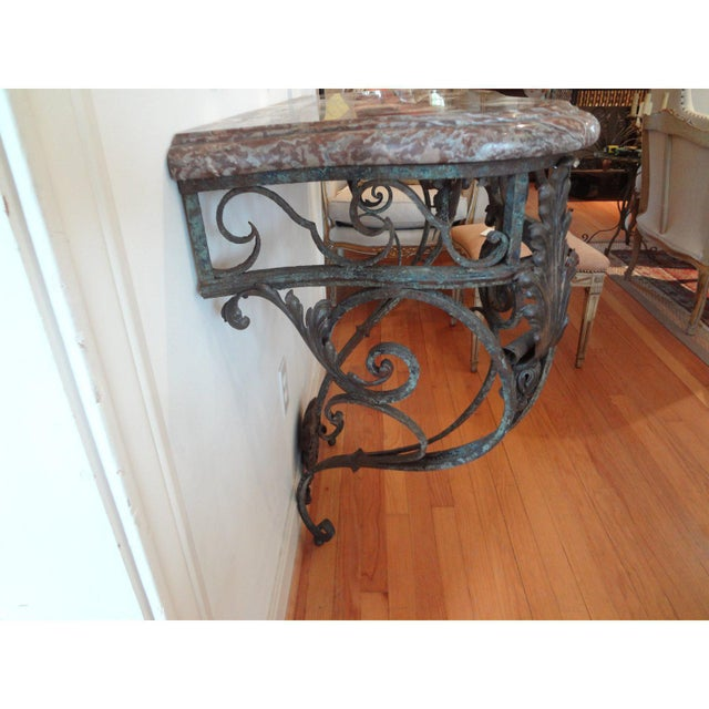 Shabby Chic Early 19th Century French Regence Wrought Iron Console Table With Marble Top For Sale - Image 3 of 11