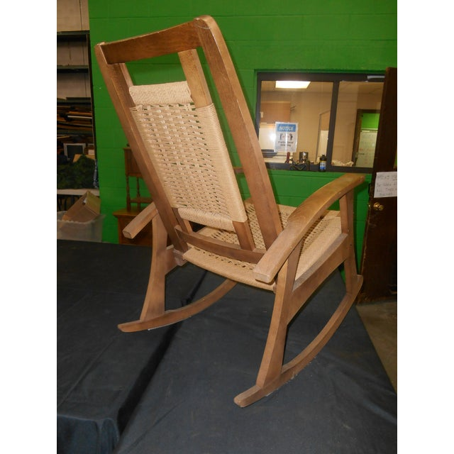 Mid-Century Modern Hans Wegner Style Woven Rope Rocking Chair For Sale - Image 6 of 8
