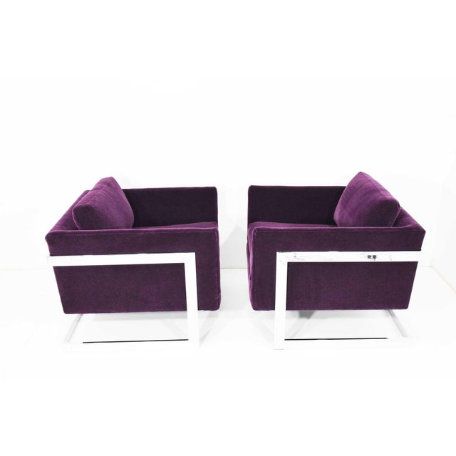 1970s Milo Baughman T-Back Cube Chairs in Maharam Mohair - a Pair For Sale - Image 5 of 13