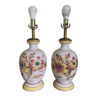 1980s Italian Ceramic Table Lamps With Flower Design - a Pair For Sale