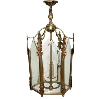 Mid Century Bronze & Beveled Glass Lantern For Sale