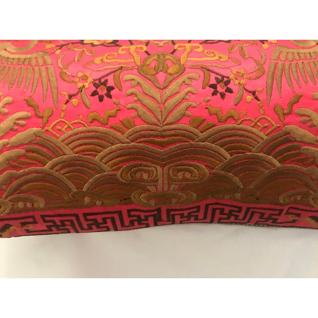 Hollywood Regency Coral & Gold Silk Embroidered Chinoiserie Boudoir Lumbar Pillow For Sale - Image 9 of 10
