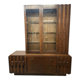 1970s Lane Brutalist Mosaic Buffet Cabinet & Hutch For Sale