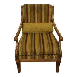 Late 20th Century Vintage Ethan Allen Italian Provincial Striped Upholstered Arm Chair For Sale