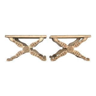 Italian Regency X Benches in Carved Wood and Cane - a Pair For Sale