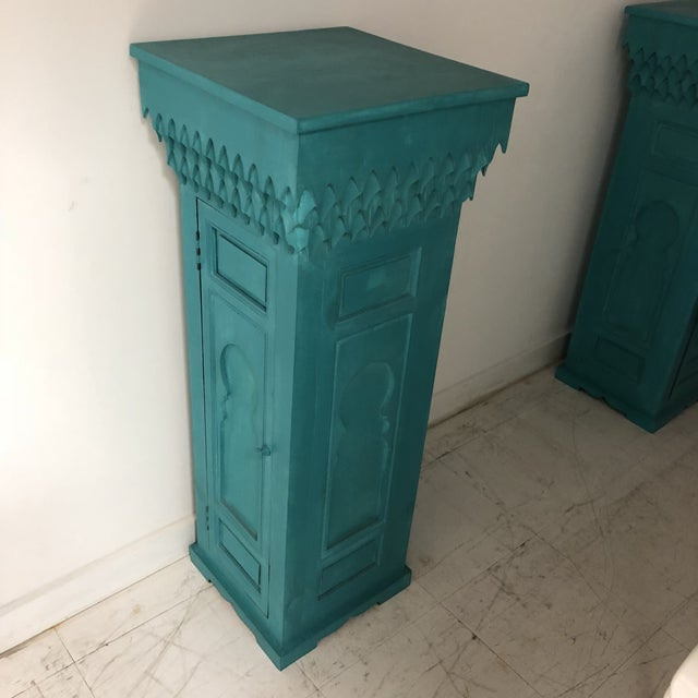 Late 20th Century 20th Century Moroccan Green Wooden Pedestal For Sale - Image 5 of 5