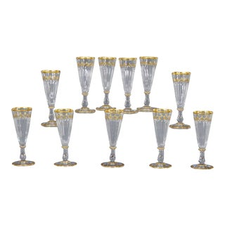 Set of 11 19th Century Baccarat Champagne Flutes or Goblets with Gold Tri For Sale