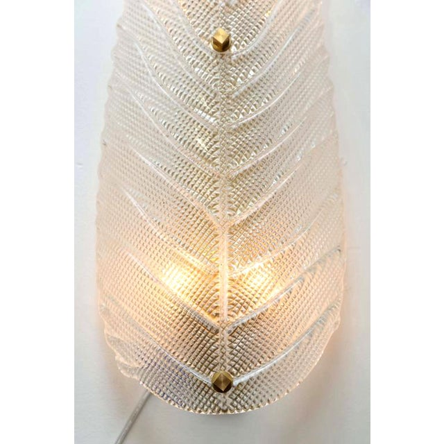 Pair of Large Mid Century Modern Murano Textured Clear Glass Leaf Sconces For Sale - Image 4 of 6