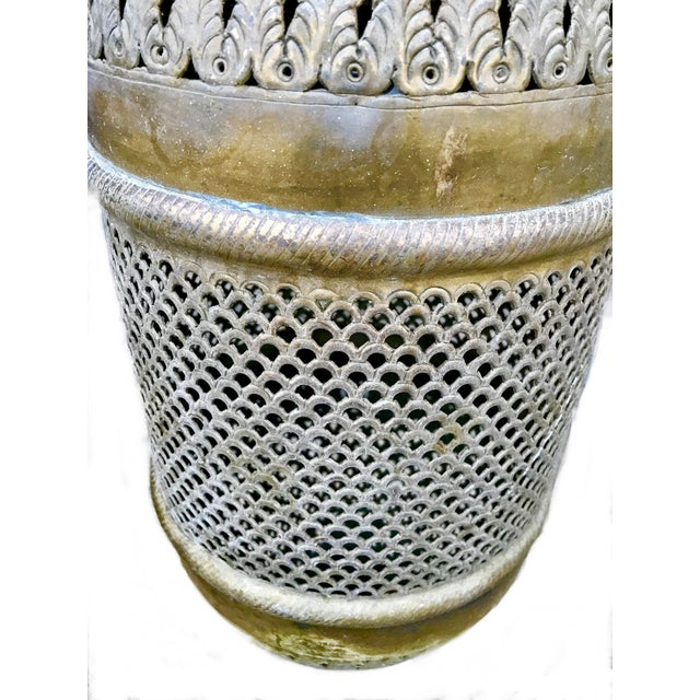 1970s Vintage Pierced Brass Moroccan Pendant Light For Sale In Los Angeles - Image 6 of 8