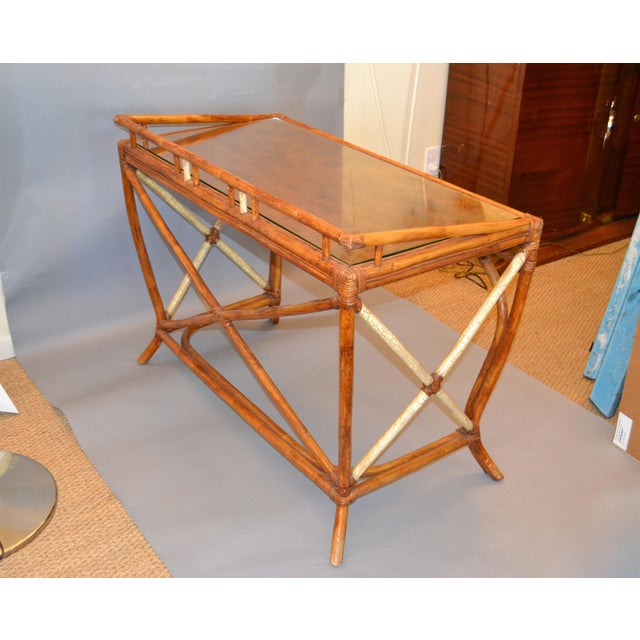 Boho Chic Vintage Handcrafted Bamboo Desk, Writing Desk With Drawer & Glass Top For Sale In Miami - Image 6 of 13