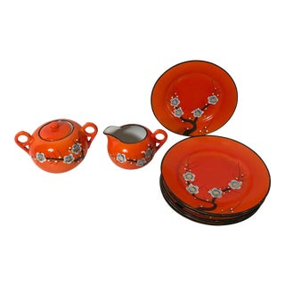 Vintage Mid-Century Japanese Hand-Painted Tea Set - 8 Pieces For Sale