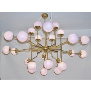Italian Modern 24-Light Brass and Lavender Periwinkle Murano Glass Chandelier Preview