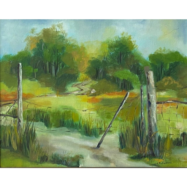 Vibrant landscape painting from the home of a prestigious Highland Park, Texas estate. Signed J. Richardson Some wear to...