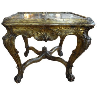 18th Century Venetian Giltwood Table With Mirrored Top For Sale