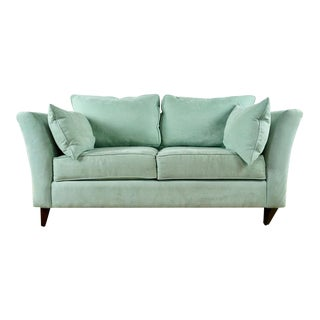 Contemporary Green Upholstered Two Cushion Sofa