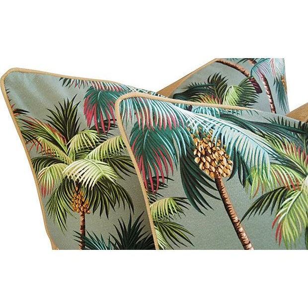 Custom Oasis Palm Tree Barkcloth Pillows- a Pair - Image 3 of 7