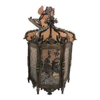 Antique Brass Chandelier Fixture With Glass and 3 Candles Dragon Design From Spain For Sale