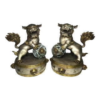 Chinese Brass Plated / Gilded Foo Dogs Detailed Brass Shishi Lions - a Pair For Sale